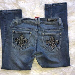 Red Rivet Capri Jeans